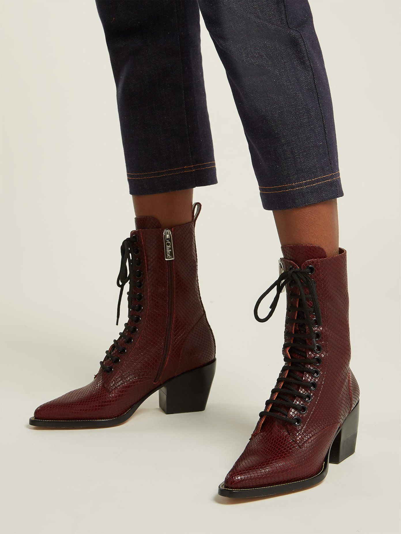 277867eb Snakeskin-effect lace-up leather boots | Chloé | MATCHESFASHION.COM ...