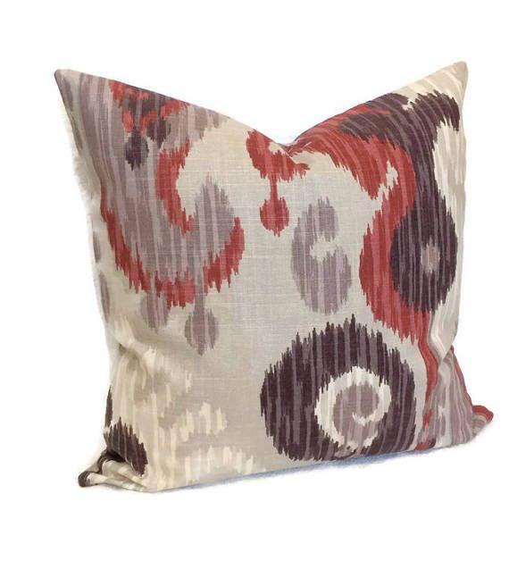 Ikat Pillow Gray Red Brown Decorative Pillow Zippered Throw
