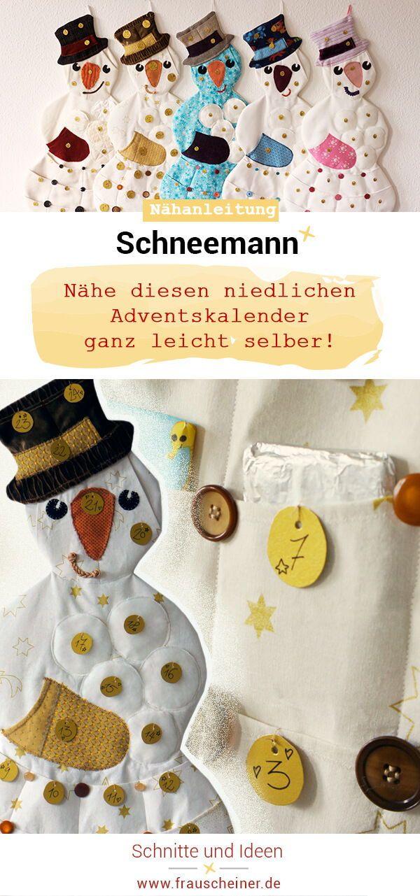 Adventskalender Schneemann | nähen #blogstlove | Pinterest | Sewing ...