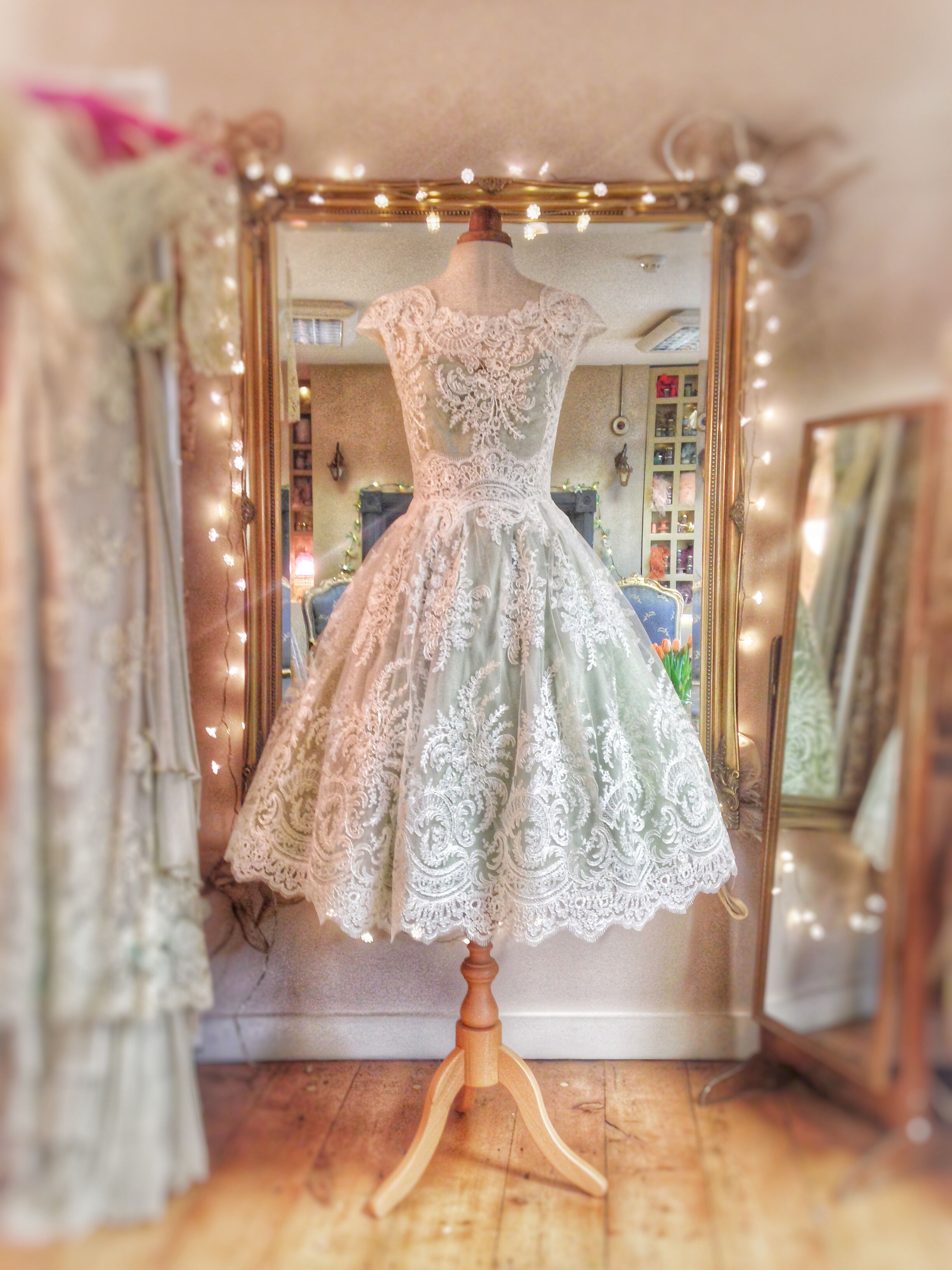 Ivory French Lace And Pale Mint Green Silk Tea Length Wedding