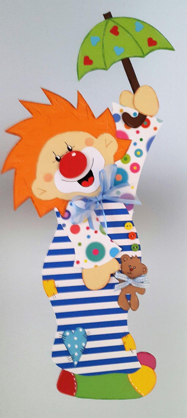 Fensterbild Clown Im Nachthemd Fasching Karneval Dekoration