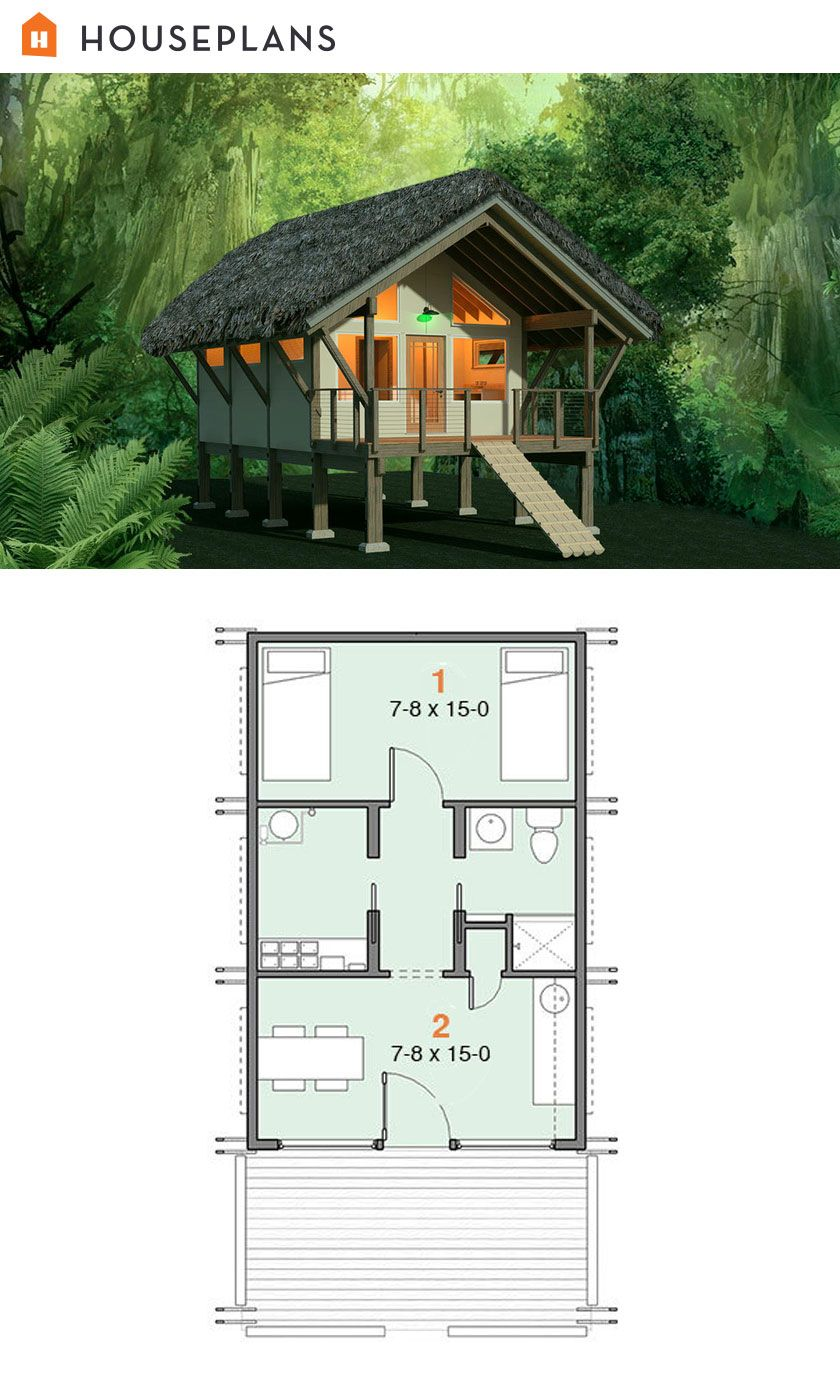 Tiny Home Designs: Off Grid Jungle Shelter Plan. #556-4 384sft
