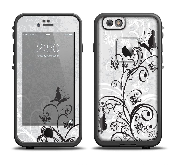 The Black and White Vector Butterfly Floral Apple iPhone 6/6s Plus LifeProof Fre Case Skin Set from DesignSkinz