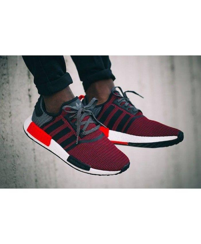 fea331f91 Cheap Adidas NMD R1 Boost Knit Tonal Black Lush Red