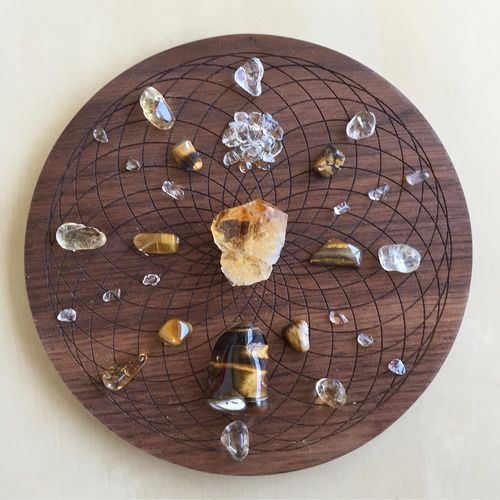 'Prosperity' Crystal Grid  Purpose: For inviting and feeling worthy of abundance, prosperity and success in all areas of your life.  Crystals: Citrine, Clear Quartz and Tigers Eye.  Torus Symbol: The energetic field that surrounds all things. Used for well-being and manifestation.