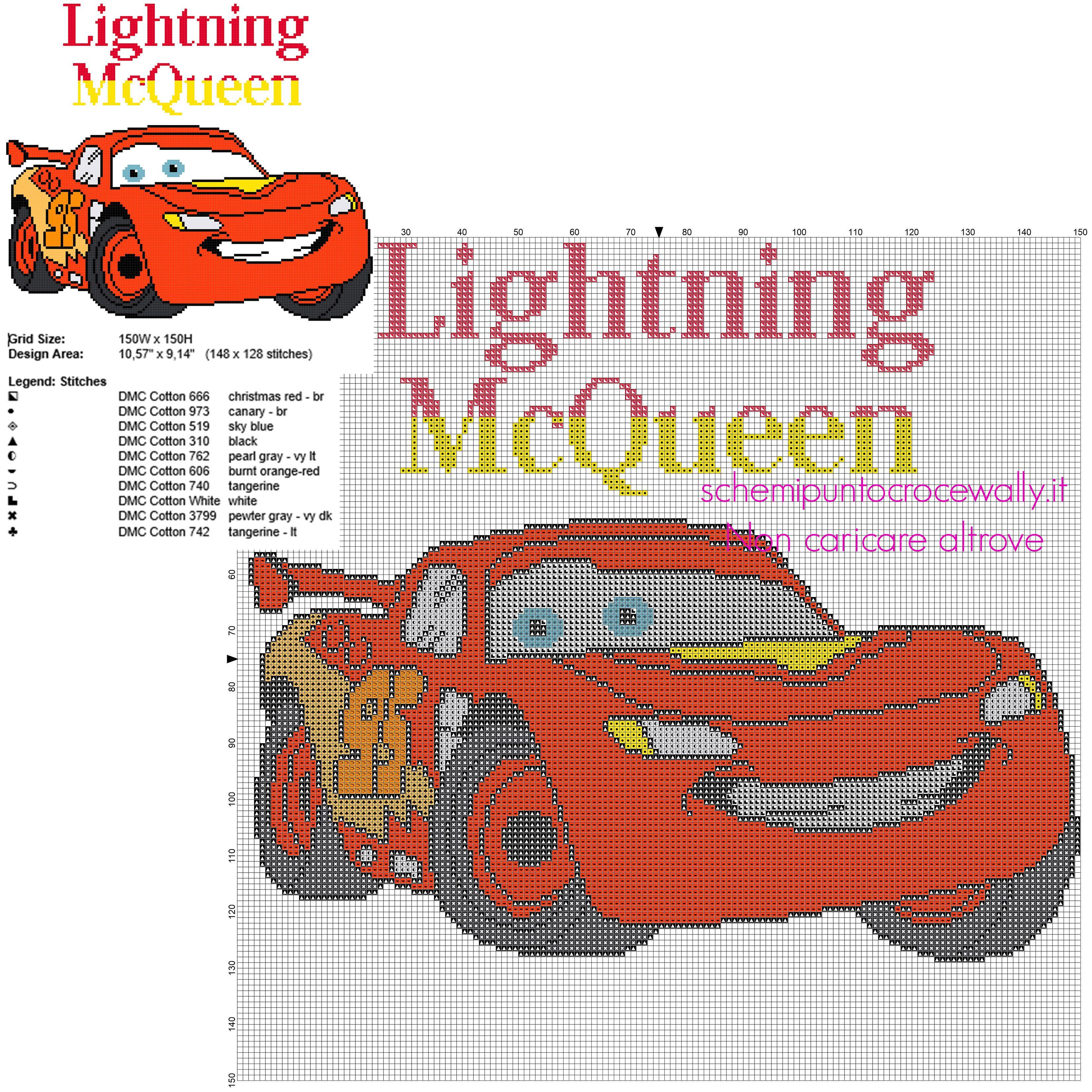 Saetta Mcqueen Personaggio Disney Cars Cartoni Animati Per Bambini Schema Punto Croce Segnalibri A Punto Croce Punto Croce Di Bambino Schemi Punto Croce Gratis