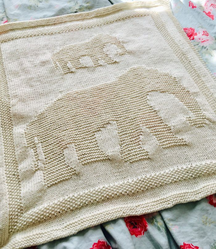 Knitting Pattern for Elephant Baby Blanket - Easy blanket in just ...