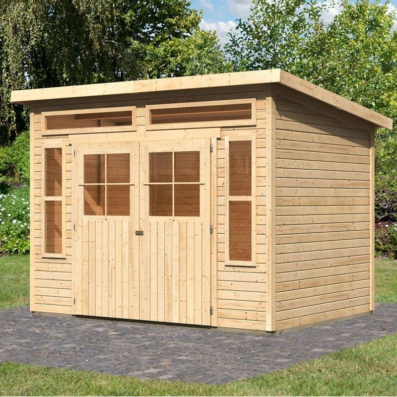 Abri à toit plat 8.80m² en bois massif brut 19mm Langenau - Karibu ...