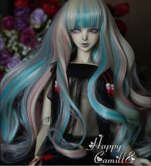 """1/3 8-9"""" Dal.Pullip.BJD.SD LUTS supper dollfie Doll green white wig hair toy kid"""