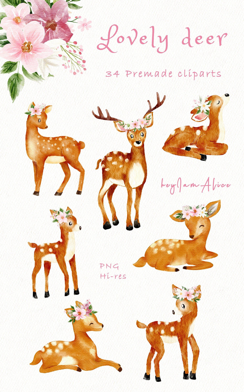 Baby Deer Clipart Pink Watercolor Deer Png Free Commercial Etsy Clip Art Nursery Art Decor Baby Deer Tattoo