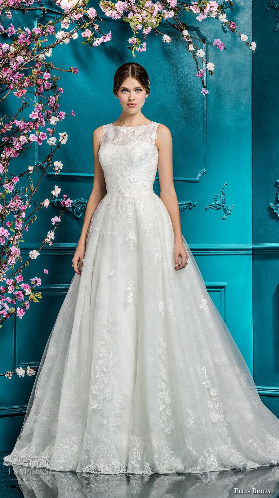 7ad6a42b073 ellis bridals 2018 sleeveless illusion jewel sweetheart neckline full  embellishment romantic a line wedding dress covered lace back chapel train  (16) mv ...