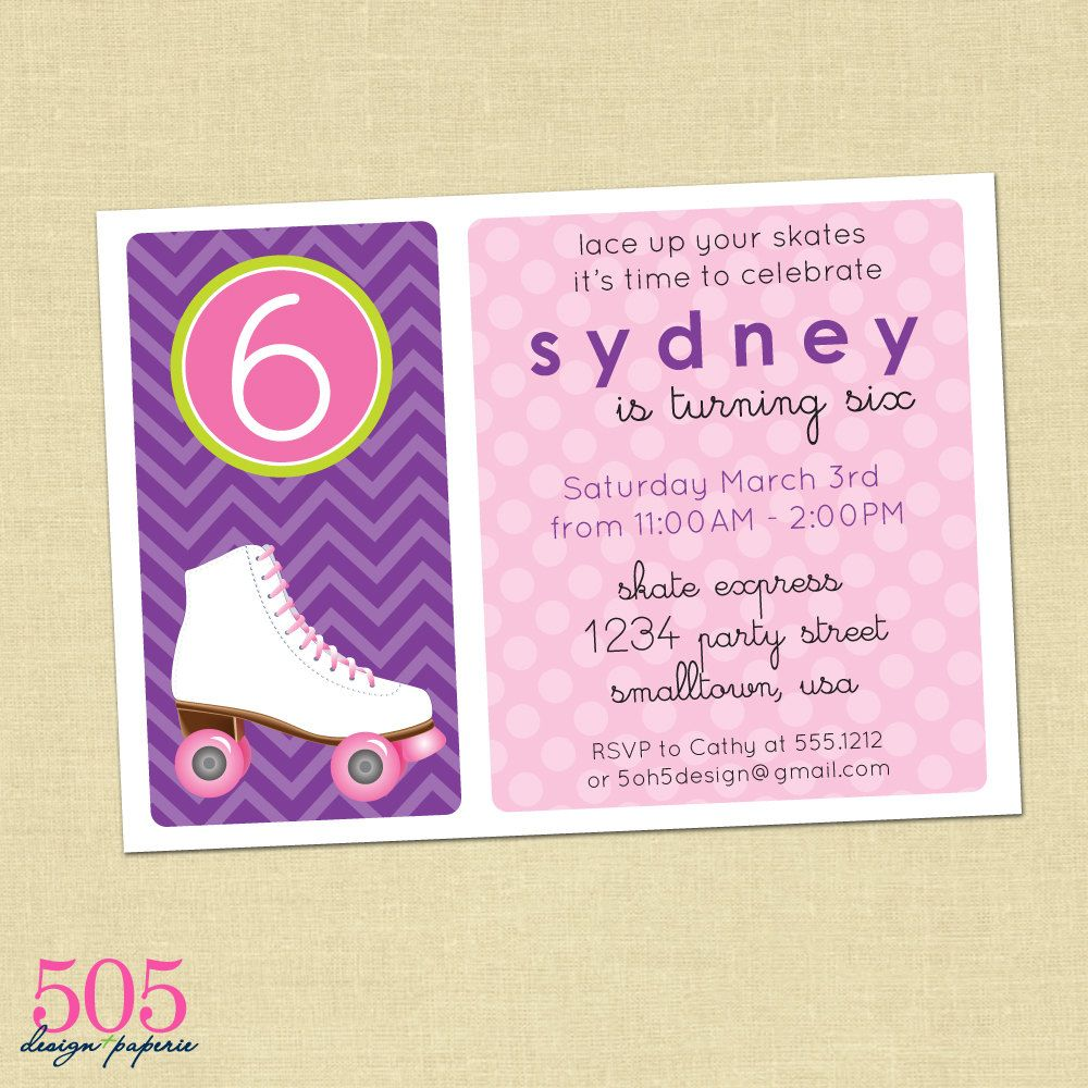 Printable Roller Skating Birthday Party Invitation - Customized ...