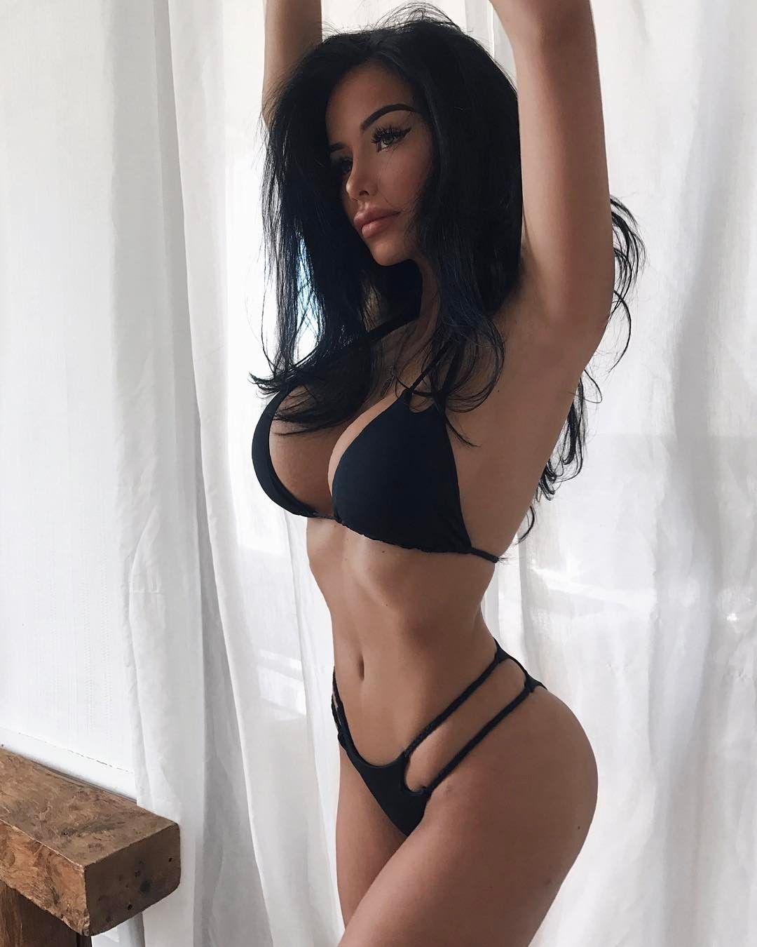 Busty Brunette Model Adele Grisoni In Sexy Black Lingerie