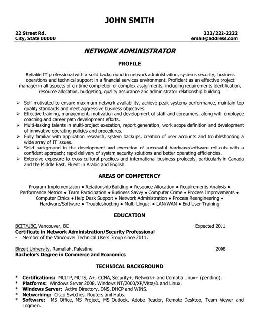 A resume template for a Network Administrator You can download it - administration resume samples