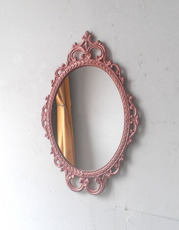 Rose Gold Wall Mirror In Hand Painted Vintage Metal Frame 17 Etsy Gold Mirror Wall Gold Walls Decorating Mirror Frames