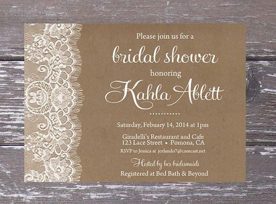 Free Wedding Shower Invitations: Burlap Lace Bridal Shower Invitation Printable By