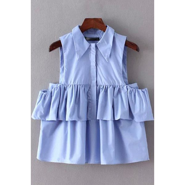 09ec5951ff2e8 Light Blue Ruffle Lapel Bare Shoulder Top ( 24) ❤ liked on Polyvore  featuring tops