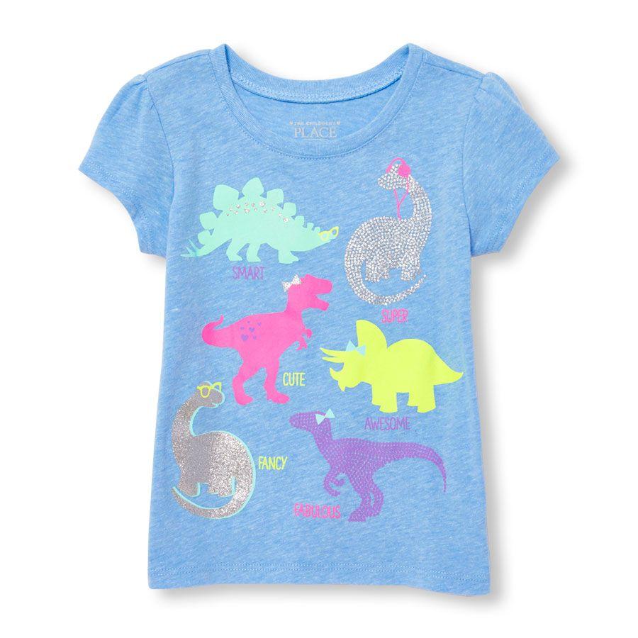 4e1e2f18 Toddler Girls Short Sleeve Glitter 'Smart Super Cute Awesome Fancy  Fabulous' Dinosaur Graphic Tee