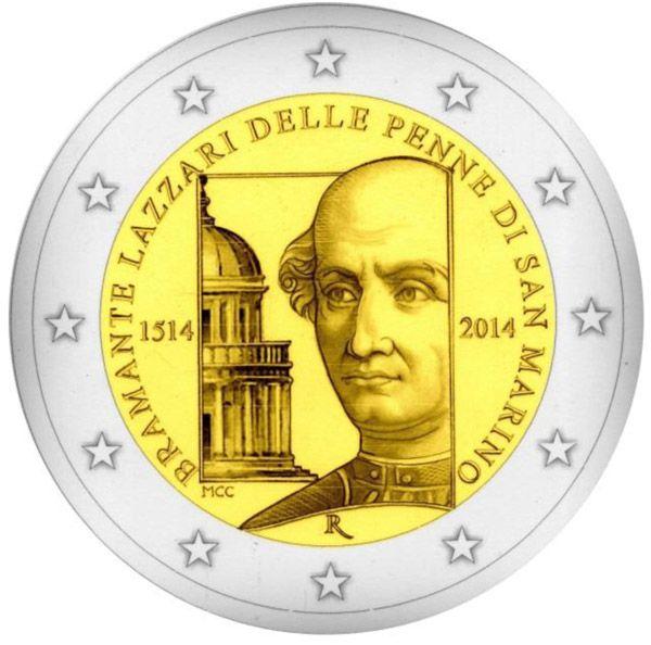 2 Euro 2014 500th Anniversary of the death of Bramante Lazzari delle Penne di San Marino