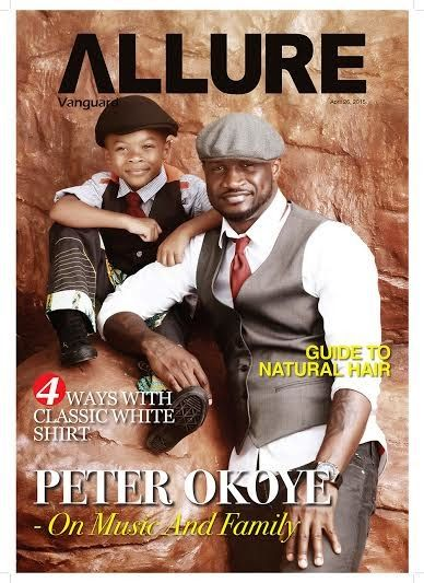 PSquare's Peter Okoye and Son covers the latest issue of Allure Magazine..