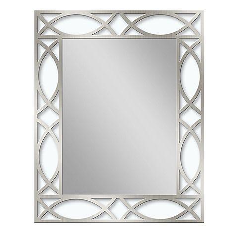 Metal 24 Inch X 30 Scroll Framed Mirror In Brushed Nickel