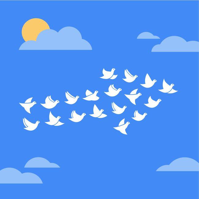 Kartun Merpati Langit Biru Bahan Latar Belakang Vector Free Flock Of Birds Cartoon Background