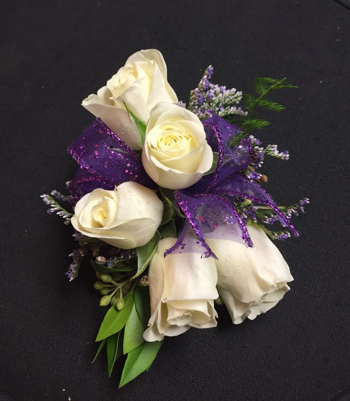 Homecoming Corsage With White Spray Roses Caspia Iridescent Gems And Purple Glitter Ribbon White Spray Roses Homecoming Corsage Spray Roses