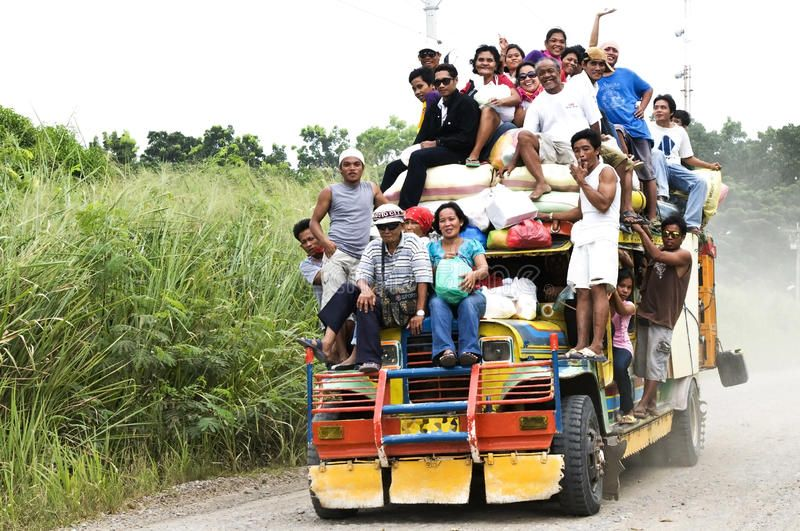 Philippine jeepney Picture of people enjoying the jeepney ride in the Philippin