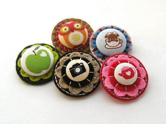 Handmade Fabric Button Earrings Black Patches