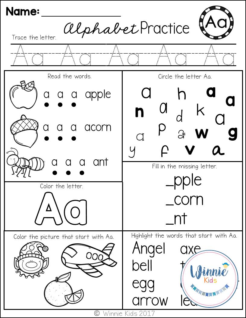 Kindergarten Alphabet Practice Letter recognition