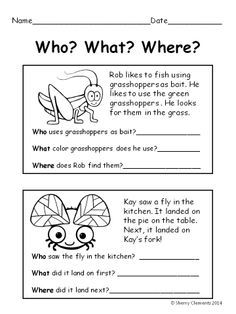 Bugs - Reading Comprehension: Who? What? Where? | School lessons ...
