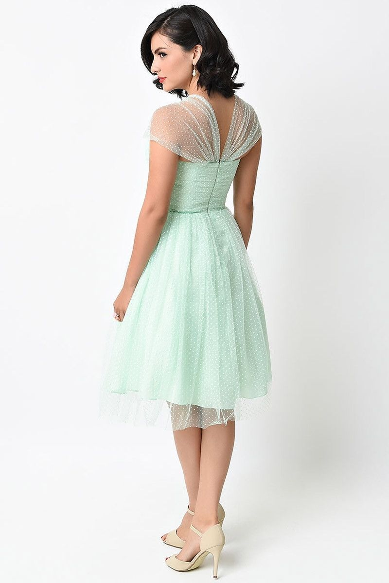 Retro Vintage Cocktail Dress with sheer cap sleeves in pastel colors ...