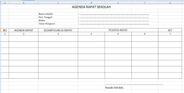 Format Buku Agenda Rapat Sekolah Notulen FORMAT AGENDA Pinterest - how to write agenda for a meeting