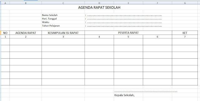 Format Buku Agenda Rapat Sekolah Notulen Kepala Sekolah Sekolah Kurikulum