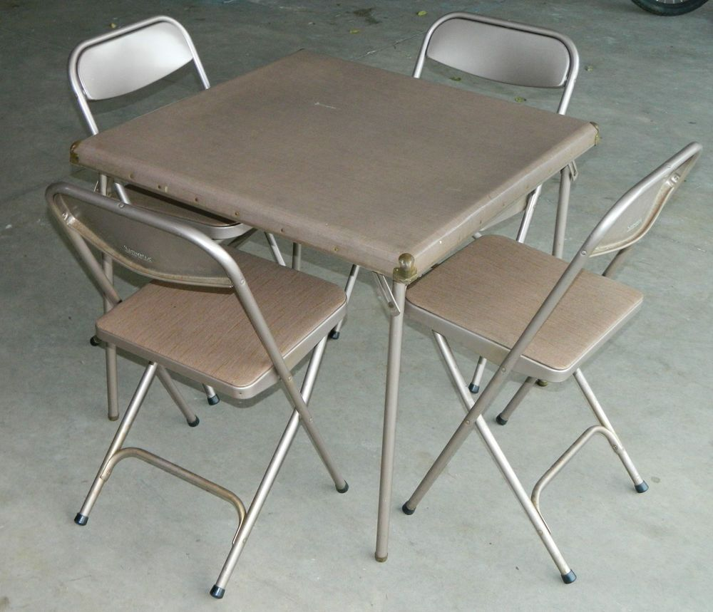 Folding Card Table And Chairs High For Boys 7733 2533 Vtg Retro Samsonite 4 Set 30 Square Brown In Collectibles Vintage Mid Century 1950s Ebay