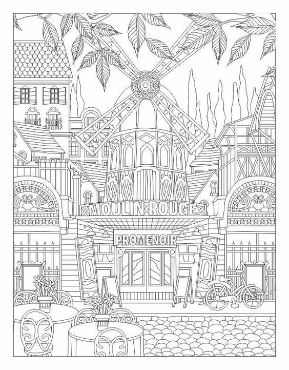 Moulin Rouge coloring page ✐Zentangles ~ Adult Colouring - new hidden alphabet coloring pages