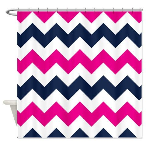 Chevron Shower Curtain Navy Blue Hot Pink By GatheredNestDesigns