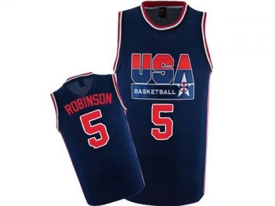 DAVID ROBINSON #5 TEAM USA  JERSEY BLUE   SEWN NEW ANY SIZE