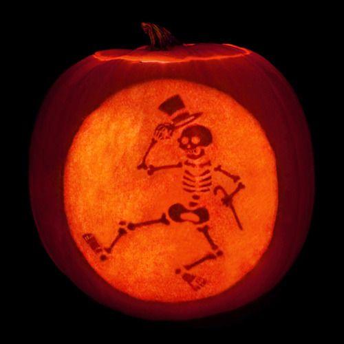 Dancing skeleton carved pumpkin halloween jack o for Skeleton pumpkin design