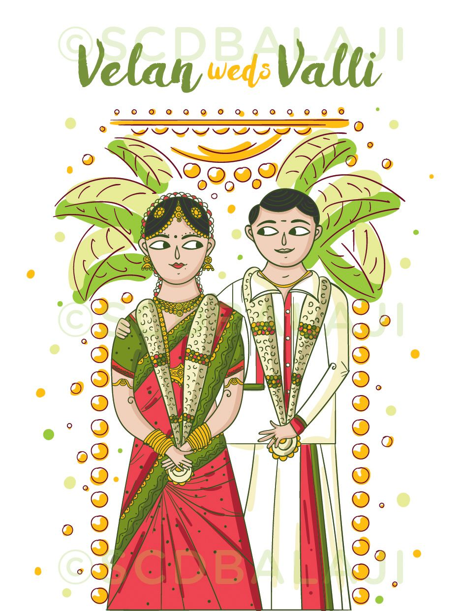 South Indian Tamil Wedding Invitation Design and Illustration by