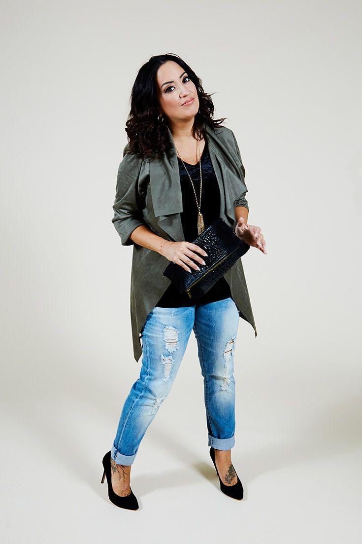 cool autumn look destoyed jeans Miyabi #autumn #destoyed