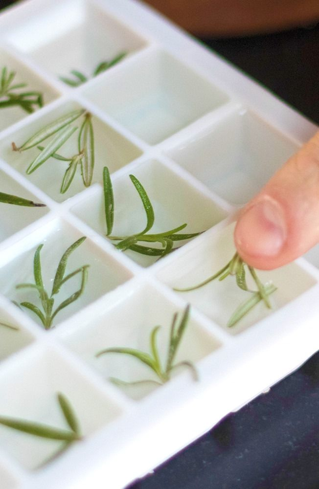 Become the best host ever by making herbal ice cubes. Start by freezing your favorite herbs like basil or cilantro in water in ice cube trays, and then add to your custom cocktail.