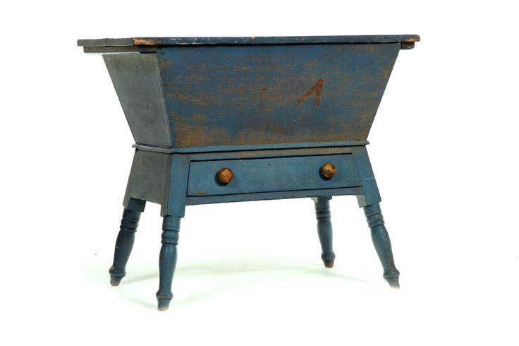 19th Century Blue Dough Table American 19th Century