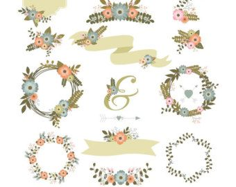 Floral Clipart Flowers Wedding Save The Date Digital Vector