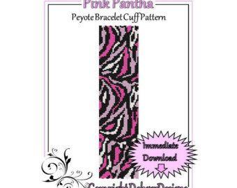 Pink Pantha - Beaded Peyote Bracelet Cuff Pattern