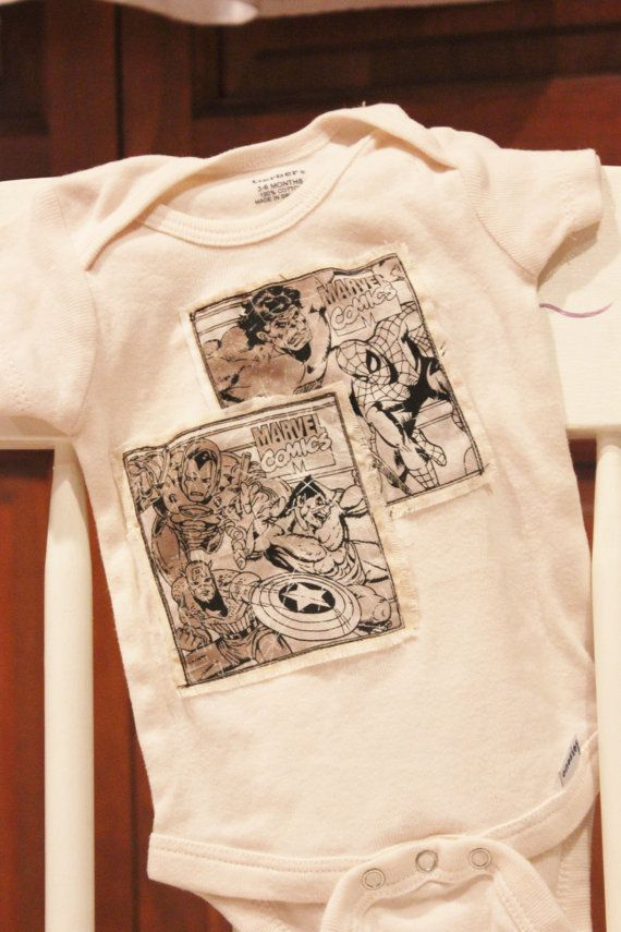 Tea Stained Onesie with Vintage Look Marvel Comic by becknmeplease, $12.00