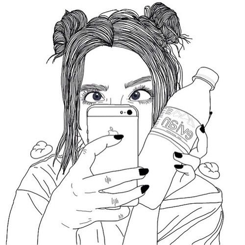 Girl Hipster Drawings Tumblr Outline Drawings Tumblr Outline Outline Art