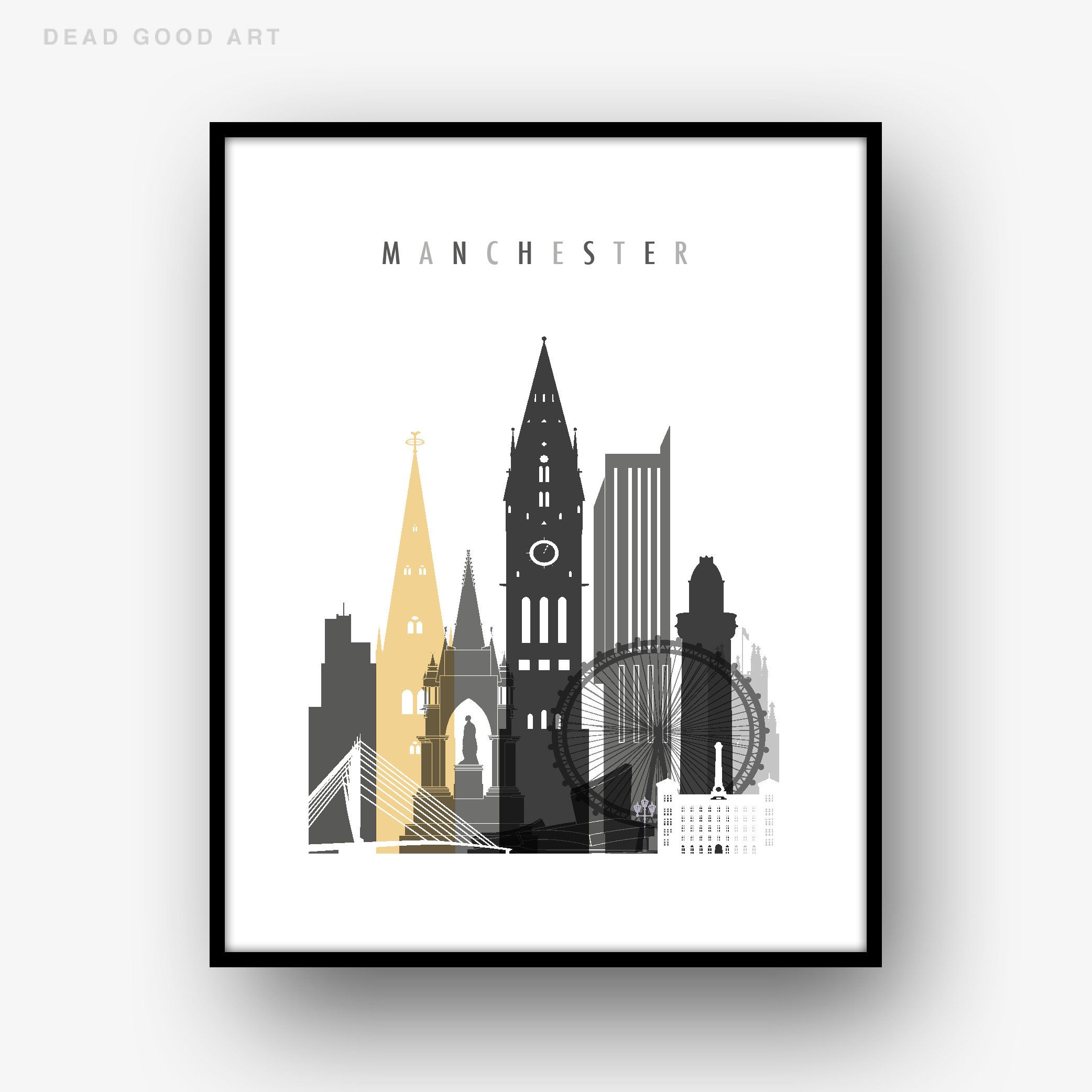Manchester England Coordinates World City Travel Quote Wall Art Print