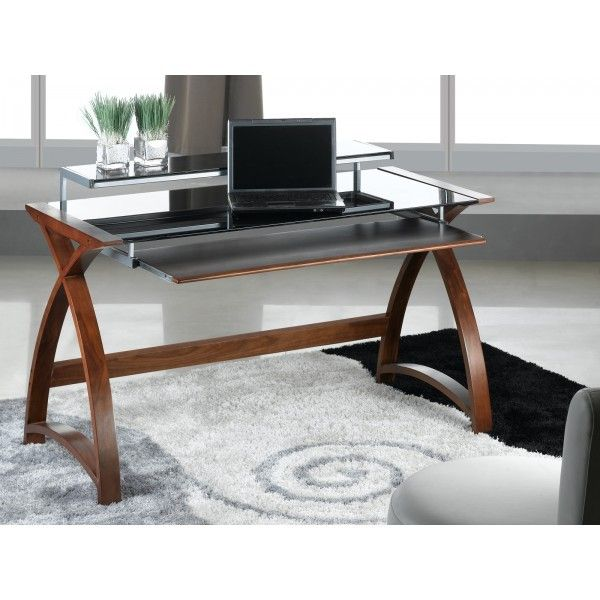 Superior Walnut Computer Desk PC201 1300mm By Jual Furnishings Is A Stunning Piece,  Finished In A Sumptuous Curved Real Wood Veneer That Complements  Contemporary ...