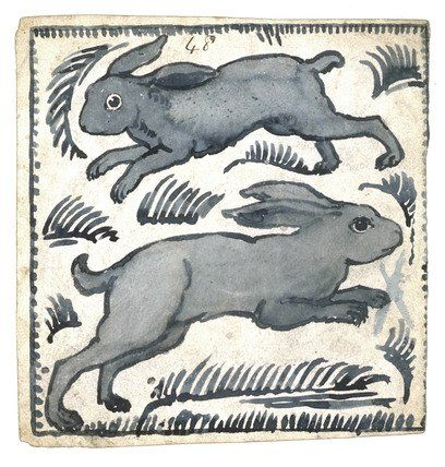 William de Morgan was a key figure of the Arts and Crafts movement and is particularly well known for his work in ceramic decoration. From his studio at the Orange House in Chelsea he designed and produced a bewildering array of ceramic tiles decorated with foliage, animals and birds in the style of William Morris. These two rabbits appear to be chasing each other around the tile.